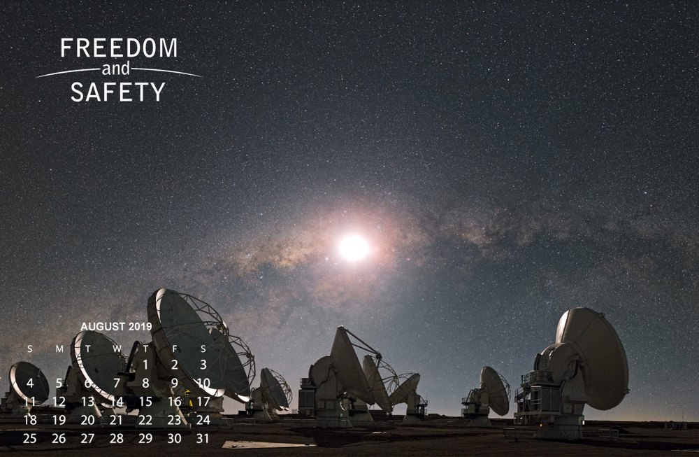 Freedom and Safety August 2019 Calendar